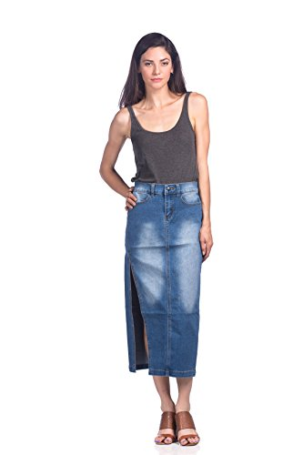 JEANS COLONY Women's Casual Knee Length Jean Denim Skirt, Medium Blue, Large