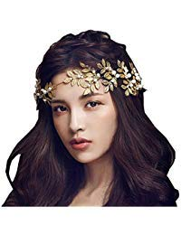 Bella-Vogue Princess Crown Headband With Leaf Shape For Wedding Party -