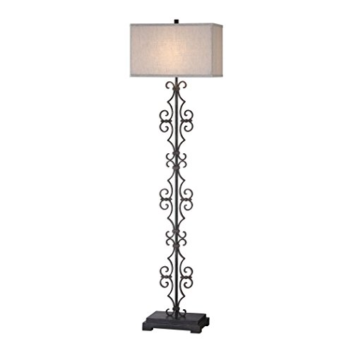 Iron Scroll Column Fretwork Floor Lamp | Bronze Antique Style