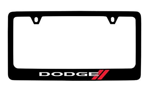 Dodge Logo License Plate Frame (2 Hole/Zinc, Black/Wide)