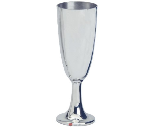 Plain Classic Flute Pewter Wine Goblet - 7 inch Tall - Pewter Flute