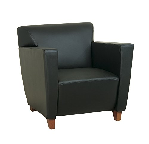 Office Star Modern Leather Club Chair with Cherry Finish Legs, Black Eco Leather Club Chair