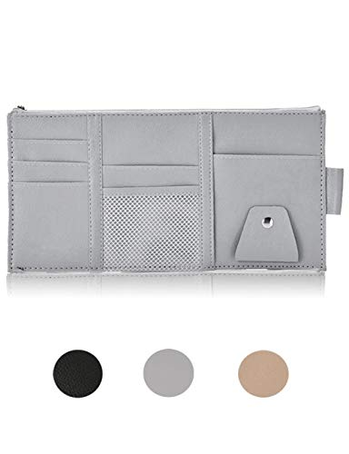Multifunctional Leather Auto Car Sun Visor Organizer with Zipper Sunglasses Clip Pen CD Card Cell Phone Holder Storage Pouch Grey