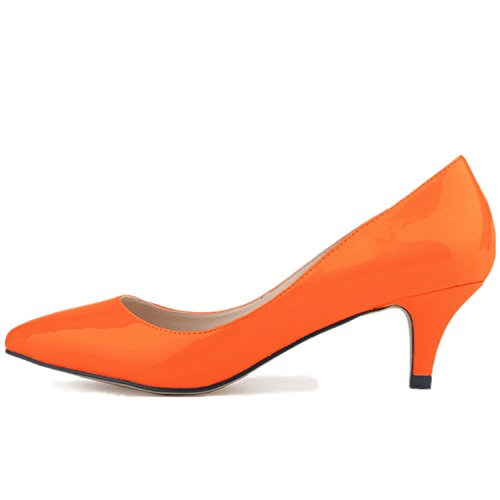 Pointed Court Heels SAMSAY Women's Toe Pumps Kitten Orange Slender Shoes ZgOIxqOw