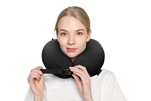 Price comparison product image Travel Pillow For Airplanes Car Offices Home Micro Beads Rest Environmental Support Neck Breathable Sweat Soft Comfortable LightWeight Adjustable Size Easy To Clean Black