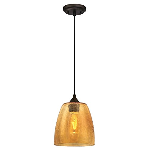 Westinghouse Lighting 6106100 One-Light Indoor Mini Pendant, Oil Rubbed Bronze Finish with Amber Crackle Glass Crackle 1 Light Pendant