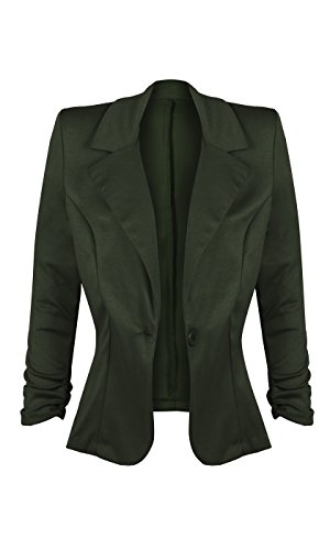 HOT FROM HOLLYWOOD Women's Lightweight Front Button Blazer with Notch Collar and 3/4 Ruched Sleeves by HOT FROM HOLLYWOOD