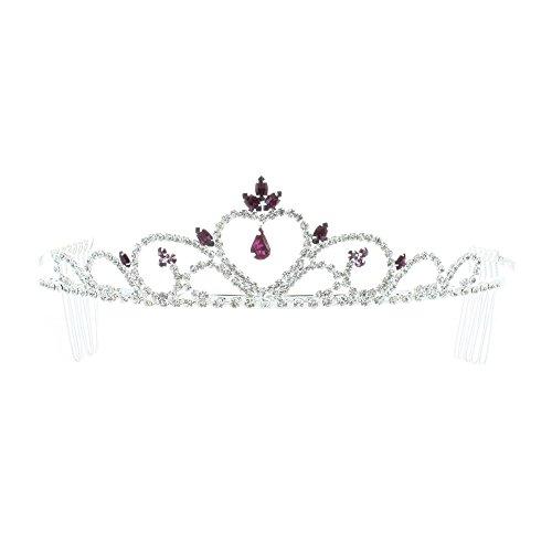 Kate Marie 'Mia' Rhinestones Crown Tiara Headband with Hair Combs in Purple
