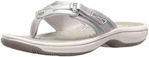 CLARKS Women's Breeze Sea Flip Flop, New Silver Synthetic, 11 M US