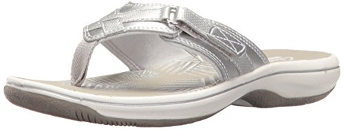 Clarks Women's Breeze Sea Flip Flop, New Silver Synthetic, 7 B(M) US -