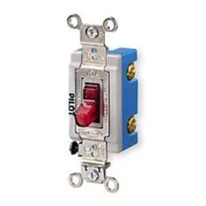 Hubbell HBL1201PL Single Pole Toggle, Industrial Grade, 15 amp, 120/277V, Pilot Light Red by Hubbell