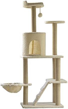 猫の木とタワー、大型猫用のマルチレベル猫ツリー、居心地の良い止まり木付き、猫トレイとはしご、豪華なアパートとおもちゃのハンギングボール、マルチレベルプラットフォーム