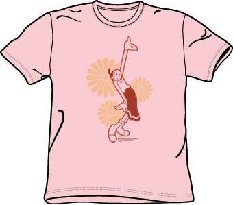 Popeye Cartoon Show - DAISIES Olive Oil Adult Pink T-shirt, XL