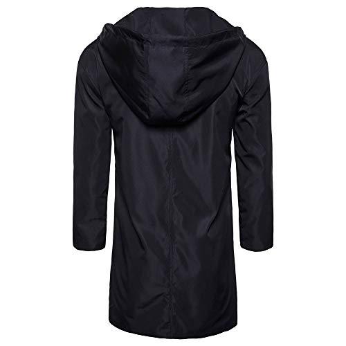 Solido Solido Solido UOMO Cardigan Jacket PAOLIAN Moda Moda Moda Moda Lunga Outwear Camicetta Incappucciato Uomo Nero Trench Manica Cappotto dXdBwgnq