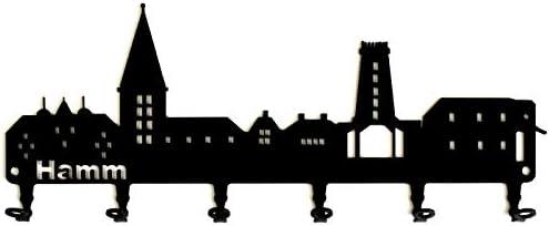 Metall Schl/üsselboard Spanien Schl/üsselleiste 6 Haken Schl/üsselhalter steelprint.de Schl/üsselbrett//Hakenleiste * Skyline Madrid *
