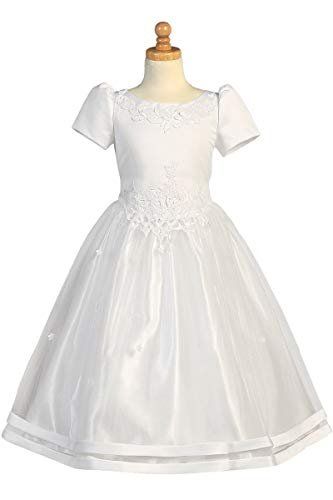White Satin Bodice w/Tulle Skirt Communion Dress (White, -