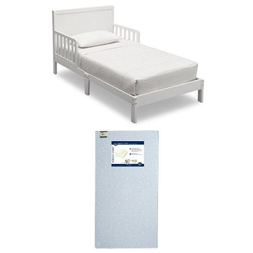 Delta Children Fabio Toddler Bed, Bianca with Serta Perfect Start Crib and Toddler Mattress