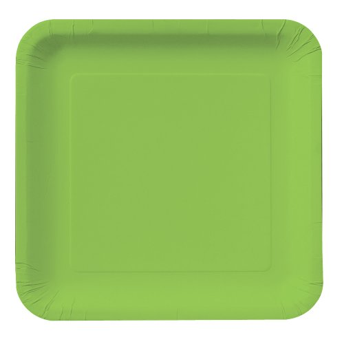 Creative Converting Touch of Color 18 Count Square Paper Dinner Plates, Fresh Lime -