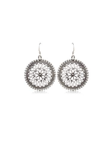 Izaara Ethnic Drop and Dangle Earrings Circle with Heart Earrings 925 Sterling Silver ()