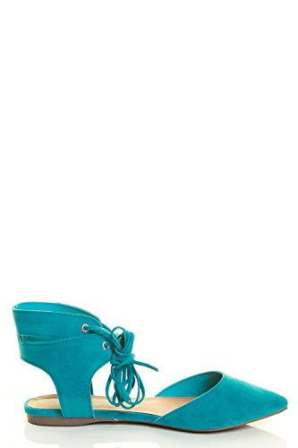 Cuff Wrap Ballet Strappy Toe Ponity Laceup Ankle Womens Ballerina Turquoise Flat Breckelles Leg fqYw8vp