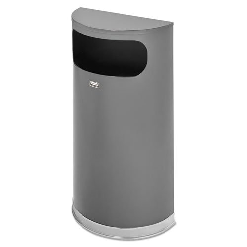 Rubbermaid Commercial Products FGSO820PLANT Half-Round Steel Trash Can, 9 gal, Anthracite