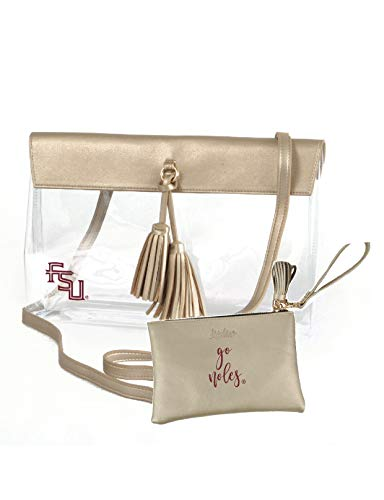 Desden Florida State Seminoles Clear Handbag and Wristlet Combo with Logo, Vegan Leather Trim and Tassels