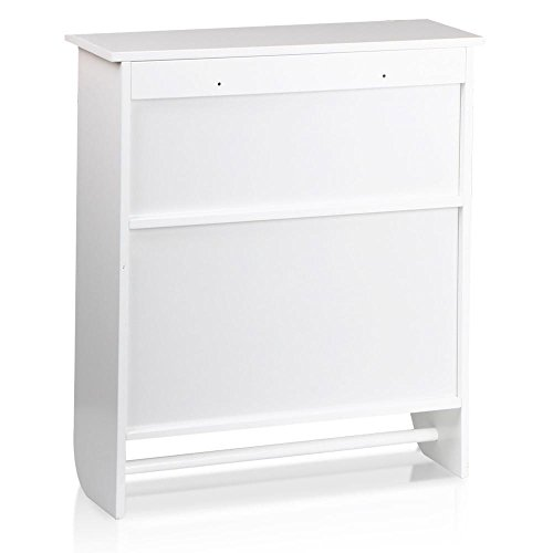 Topeakmart White Wood Bathroom Wall Mount Cabinet Toilet Medicine Storage Organizer Bar by Topeakmart (Image #3)