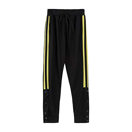 Mens Striped Drawstring Running Pants Slim Fit Jogger Hipster Hip Hop Athletic Trousers Sweatpants with Pockets Yellow