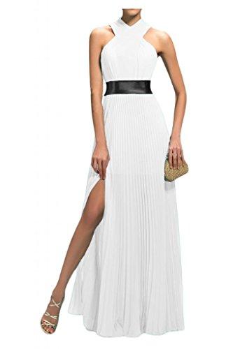 Ange Mariée 2015 Simple Longueur Plancher Colonne Robes En Mousseline De Soie De Bal De La Soirée Blanche
