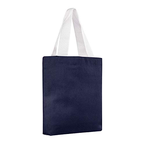 BagzDepot (12 Pack) 100% Canvas Tote Bags with Poly Handles and Bottom Gusset, Mini Gift Bags, Reusable 8