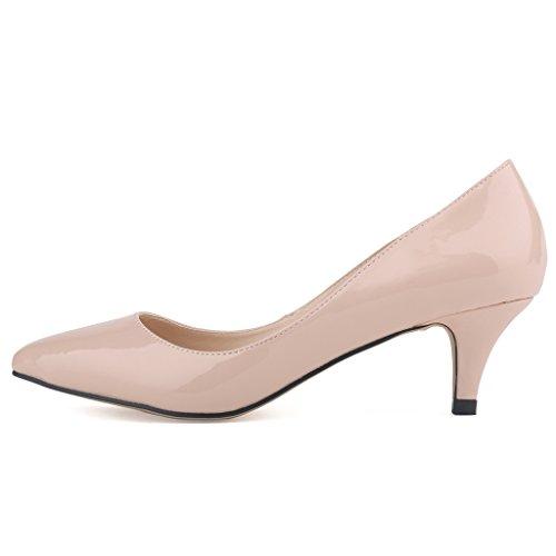 3df07c3bd26f ZriEy Delicacy Professional Womens Glossy Close Toe Dress Mid Heel Pump  Nude