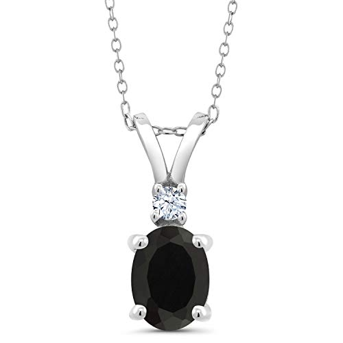 Gem Stone King Sterling Silver Black Onyx and White Created Sapphire Pendant necklace 2.25 cttw Oval with 18 inches Silver Chain