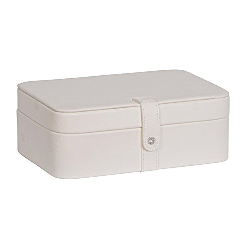 Mele & Co. Lila Earring and Ring Holder Jewelry Box in Faux Leather, 48 Sections (Ivory)