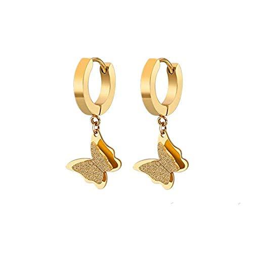 Stainless Steel Butterfly Dangle Women Butterfly Drop Earrings Girls