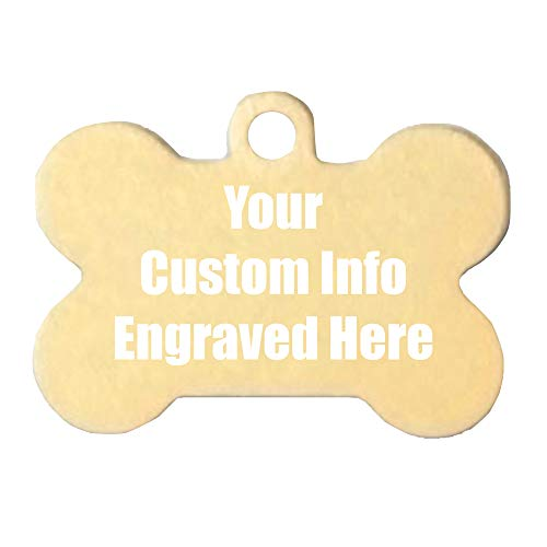 Hat Shark Custom Personalized 3D Laser Engraved Bone Shaped Pet ID Tag (Gold)
