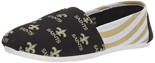 NFL New Orleans Saints Women's Canvas Stripe Shoes, Large (9), Black