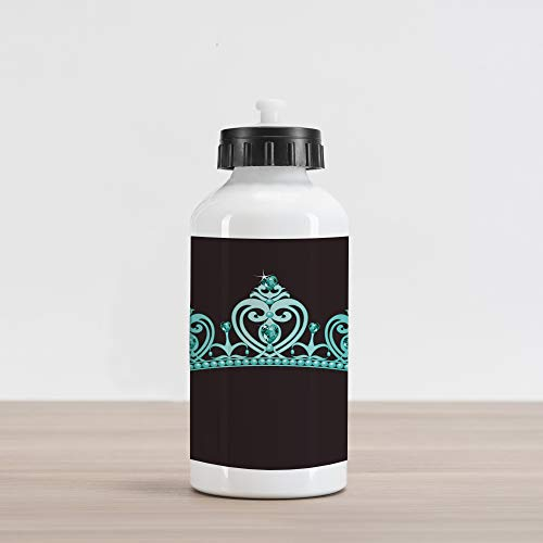 Lunarable Princess Aluminum Water Bottle, Fairytale Character Costume Tiara Crown with Vibrant Heart Figures Girls Kids Theme, Aluminum Insulated Spill-Proof Travel Sports Water Bottle, Turquoise -