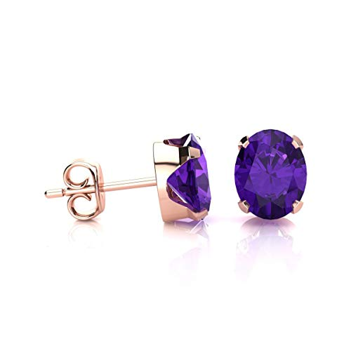 2 Carat Oval Shape Amethyst Stud Earrings In Rose Gold Over Sterling Silver