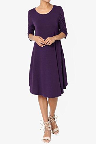 TheMogan Women's 3/4 Sleeve Trapeze Knit Pocket T-Shirt Dress Dark Purple 1XL by TheMogan (Image #6)