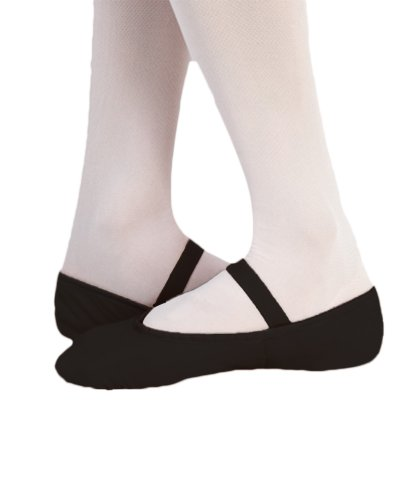 Body Wrappers 201C Childrens Tiler Full Sole Leather Pleated Ballet Slipper (Black, 10.5 M US)