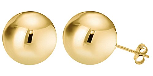 Gold Plated Sterling Silver Ball Stud Earrings (Ball Simple Creations)