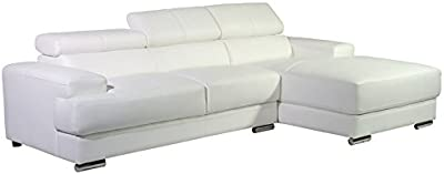 Container Direct Gabriel Collection Modern Bonded Leather Upholstered Sofa Sectional Right-Facing Chaise Lounge, White
