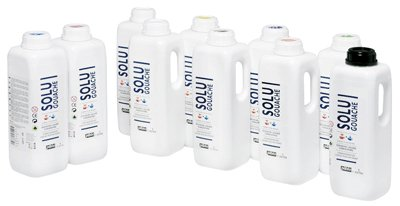 Pebeo Gouache Floor 98809 Bottles Pack of 10 Assorted Colours 1000ml