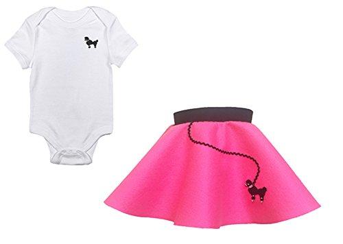 Hip Hop 50s Shop Infant Poodle Skirt 2 Piece Costume Set Hot Pink 6