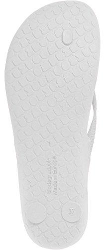 Boombuz 100% nuture LILLI Basic Naked 110-1-001 - 110-1-006, Damen Sandalen Zehentrenner Zehenspreitzer Flip Flops Biodigradable biologisch abbaubar (37, white / weiß)