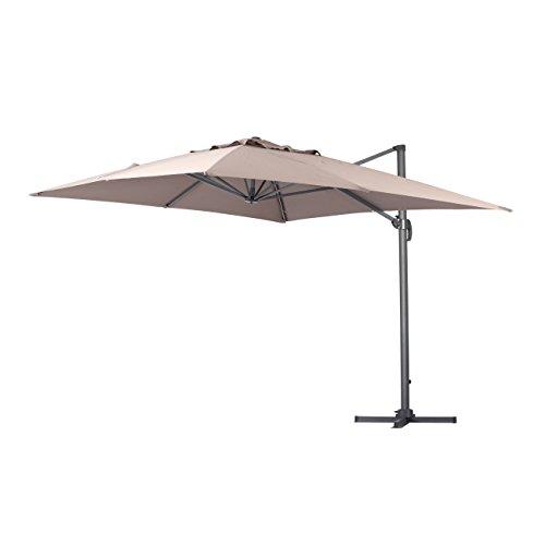 Square Garden Parasol (Green Garden Deluxe 10 x 10 Feet Cantilever Offset Patio Umbrella Square Parasol Infinite Tilt Position with Cross Base)