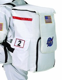 Aeromax Jr. White Astronaut Suit Age 6-8 with NASA Backpack, Helmet, Waterpack and Kids Coloring Book