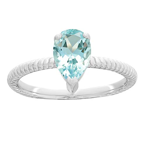 - Lavari - 1.3 Ct 9x6 MM Pear Shape Aquamarine 925 Sterling Silver Birthstone Ring Size 7