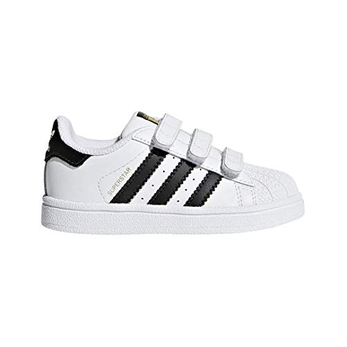 adidas Originals Baby Superstar CF I Running Shoe, core Black/White, 10 M US Toddler