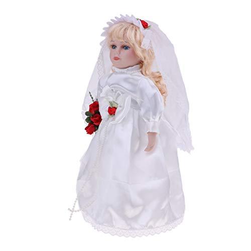 Porcelain Victorian Bride Doll - SM SunniMix 30cm Elegant Porcelain Bride Girl Doll People with Wedding Dress for Kids Birthday Gifts